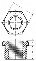 forged threaded Hex Head Bushing dimensions
